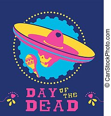 mexicain, crâne, sombrero, mariachi, mort, jour