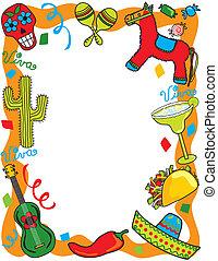 mexicain, fête, fête, invitation