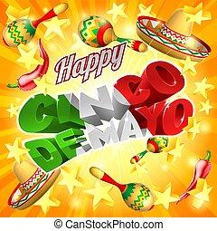 mexicain, fond, mayonnaise, de, cinco, étoiles, vacances