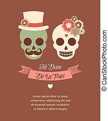 mexicain, invitation mariage, à, deux, hipster, crânes
