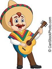 mexicain, jeu guitare, chant, dessin animé, homme