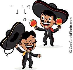 mexicain, men., vecteur, mariachi, illustration