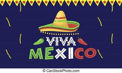 mexicain, mexique, chapeau, viva, animation
