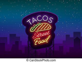 mexicain, néon, clair, rue, logo, café, ton, restaurant, projets, jeûne, style., signe, nourriture, nourriture, illustration, tacos, nightly, panneau affichage, nourriture., symbole, taco., vecteur, publicité