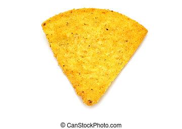 mexicain, nachos, blanc, fond