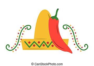 taille 7 beaucoup de choix de magasins d'usine Chapeau, poivre, mexicain, piment, rouges. Poivre, mexicain ...