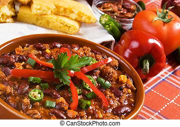 mexicain, piment, haricots