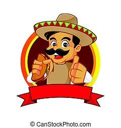 mexicain, pouce, abandon, tenue, taco, homme