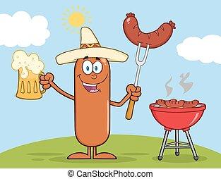 mexicain, saucisse, caractère, heureux