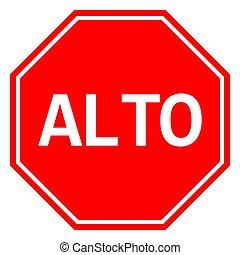 mexicain, signe, arrêt, vecteur, trafic, alto, symbole, avertissement
