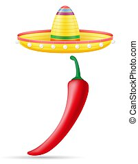 mexicain, sombrero, national, illustration, peper, vecteur, ...
