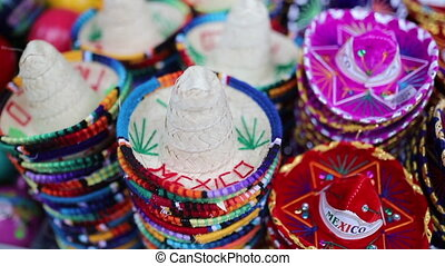 mexicain, sombreros, coloré, vue, souvenirs, formulaire, tourner
