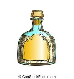 mexicain, soufflé, couleur, tequila, classique, verre, vecteur, bouteille