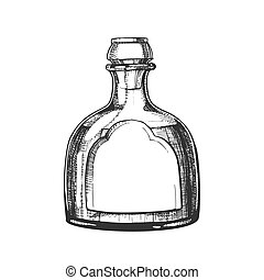 mexicain, soufflé, tequila, classique, verre, vecteur, bouteille