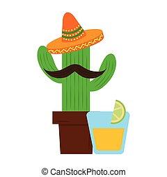 mexicain, tequila, boisson, cactus, chapeau, dessin animé