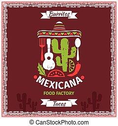 mexican の食物, ポスター, ベクトル, デザイン, テンプレート