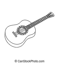 Mexican acoustic guitar icon in outline style isolated on white background. Mexico country symbol stock bitmap, rastr illustration.