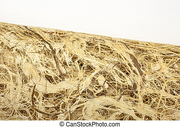 Roll of amate bark paper with lace design against white canvas. This ancient paper dates back to pre-Columbian and Meso-American times and is still hand made by the Otomi Indian artisans of Mexico.