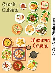 Mexican and greek cuisine icon for food design