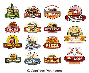 Mexican, Asian fast food snacks and meals icons - Fast food...