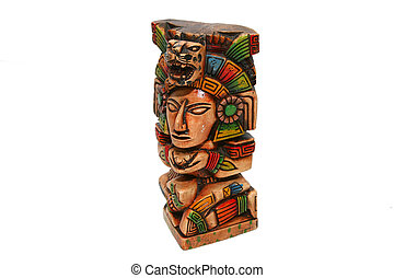 mexican aztec indian totem isolated over white