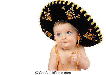 Mexican baby - 6 month old baby boy wearing a Mexican hat