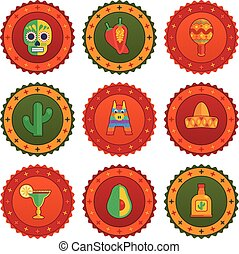 mexican badges - set of mexican themed badges with...