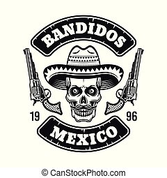 Mexican bandit emblem with skull in sombrero