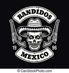 Mexican bandit skull in sombrero emblem on dark