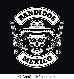 Mexican bandit skull in sombrero emblem on dark