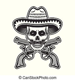 Mexican bandit skull in sombrero hat illustration