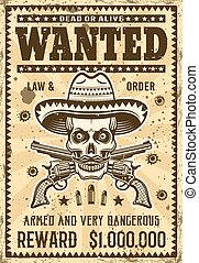 Mexican bandit skull in sombrero wanted poster