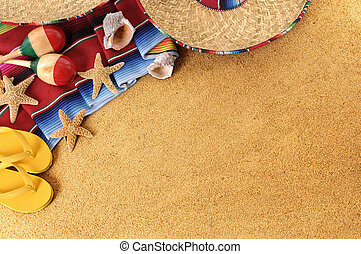 Mexican beach background with sombrero straw hat, ...