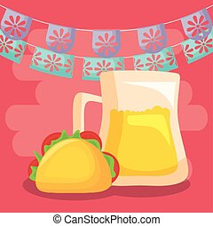Mexican beer and taco with banner pennant vector design