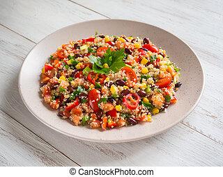Mexican black bean corn quinoa salad. Close up. - Mexican...