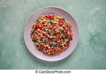 Mexican black bean corn quinoa salad. Close up.
