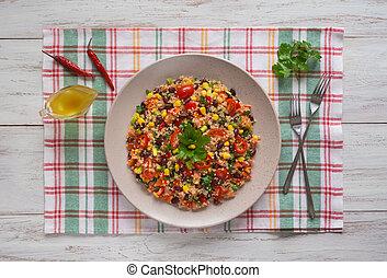 Mexican black bean corn quinoa salad. Top view.