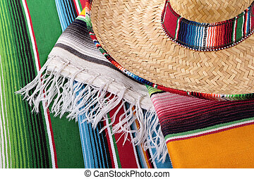 Mexican blanket and sombrero