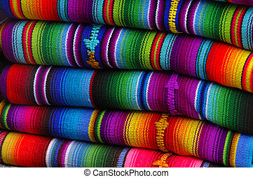 Mexican blankets - Colorful blankets at a mayan market