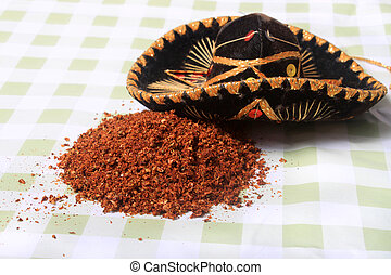 Mexican blend of spices - Loose Mexican spices spilled on a...