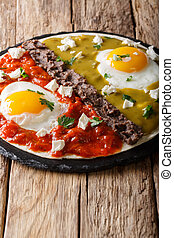 Mexican breakfast: eggs huevos divorciados with beans...