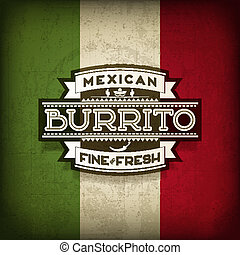 Mexican Burrito Food Vector Label