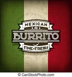 Mexican Burrito Food Vector Label