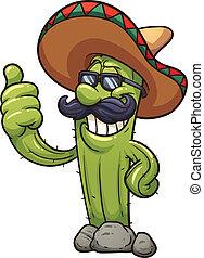 Mexican cactus - Mexican cartoon cactus. Vector clip art...