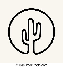Mexican cactus icon in outline style isolated on white background. Mexico country symbol vector illustration.