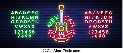 Mexican cafe is a neon sign. Bright glow sign, neon banner, luminous logo, symbol, nightly advertisement of Mexican food. Design a template. Vector illustration. Editing text neon sign