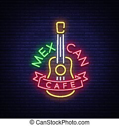 Mexican cafe is a neon sign. Bright glow sign, neon banner, luminous logo, symbol, nightly advertisement of Mexican food. Design a template for your projects. Vector illustration