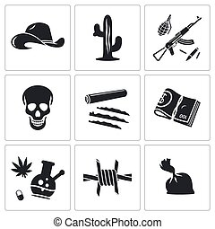 Mexican cartel Vector Icons Set - Mexican cartel Vector...