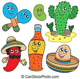Mexican cartoon collection - isolated illustration.