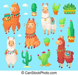 Mexican cartoon cute alpaca with white wool, Peru desert llama and cactus isolated. Funny lama animals vector set